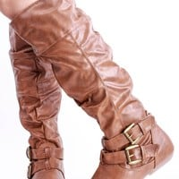 TAN FAUX LEATHER SCRUNCHED SLOUCHY STRAPPY BUCKLE KNEE HIGH BOOTS