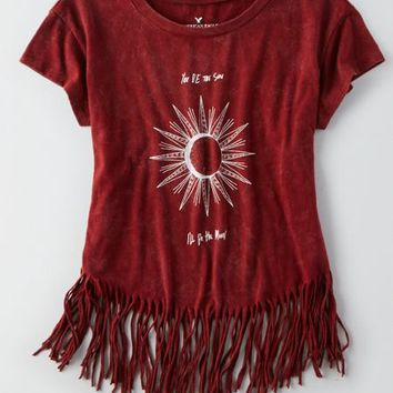 AEO Fringe Graphic T-Shirt , Burgundy | American Eagle Outfitters
