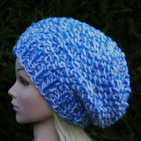 Hand Knit Hat Women's Hat-  Hand knitted- blue and white- slouchy beanie hat- Warm Winter Hat.