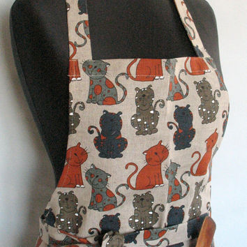 Linen Kitchen kit Utility Apron Womens Aprons for women Apron Oven Mit Cat