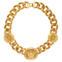 Gold Medusa Medallion Necklace