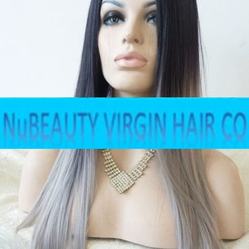 Custom Colored Front Lace Wig 100% Human Hair 1B/Silver Grey