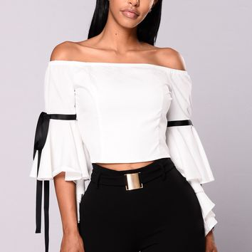 Brunch Vibe Bell Sleeve Top - Ivory