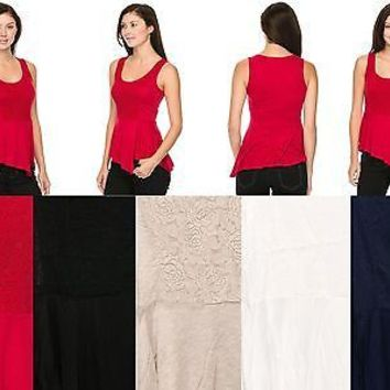 Sleeveless Contrast Lace Peplum Skater Tank Top Blouse Irregular Hem Shirt