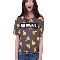 CREYCI7 2017 hot summer new women's short-sleeved NO DRAMA letter printing Pizza T-shirt, fashion loose and comfortable,S-XL available