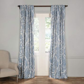 Bohemian Blue Floral Damask Blackout Curtain Panel Set
