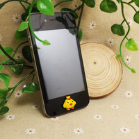 Cute Little Yellow Chick Red Bowknot Home Button Sticker for iPhone 3,4,4s,5,ipad 2,3,4,iPod Touch 2,3,4,5