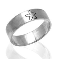 925 sterling silver wedding band decorated with a small flower - Silver wedding band ring
