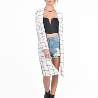 Lengthy Checkered Cardigan - Medium