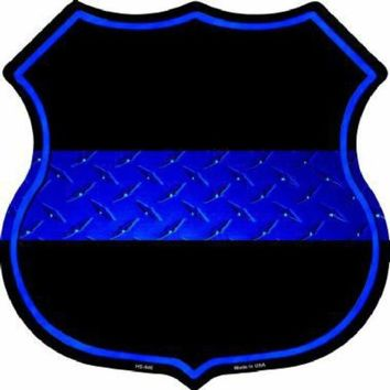 Thin Blue Line Police Highway Shield Sign  11 inch  die cut  sign