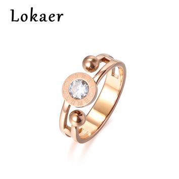 Lokaer Round Shape Roman Numerals Pattern Cubic Zirconia Stylish Titanium Steel Engagement Wedding Rings For Women Bague Femme