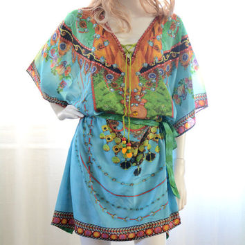 Blue floral Kaftan dress lace up embellished caftan dress relaxed fit gorgeous colors for beach or casual wear boho