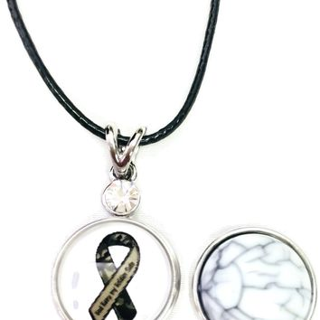 "God Keep My Soldier Safe Snap on 18"" Leather Rope Diamond Pendant Necklace W/ Extra 18MM - 20MM Snap Charm"