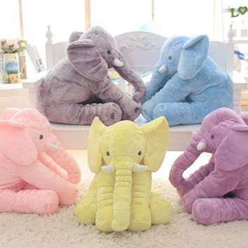 60cm Height Large Plush Elephant Doll Toy Kids Sleeping Back Cushion Cute Stuffed Elephant Baby Accompany Doll Xmas Gift