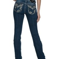 Miss Me Women's Medium Wash Embroidered Leaf Flap Pocket Signature Bootcut Jean
