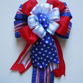 Red White Blue Wreath Bow  Fourth 4th of July Bow Patriotic Holidays Bow Independence Day Bow Decoration Memorial Bow