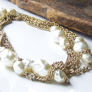 Etsy, Etsy Jewelry, Vintage Necklace, Double Strand Necklace, Faux Pearl Necklace, Opera Length Necklace, Bridal Necklace