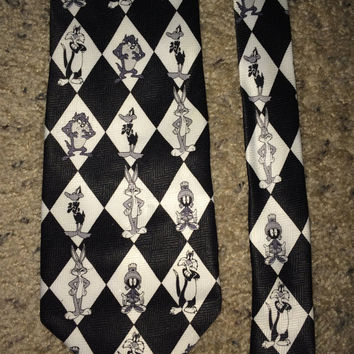 Sale!! Vintage LOONEY TUNES Mania 1998 Polyester Tie cartoon Mens necktie