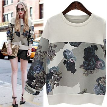 Floral Watercolor Print Sweater