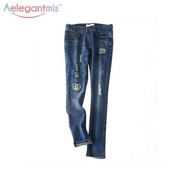 Special Offer Aelegantmis 100% Cotton Vintage Ripped Hole Jeans Women Cool Patchwork Jeans Casual Denim Pants Blue Female