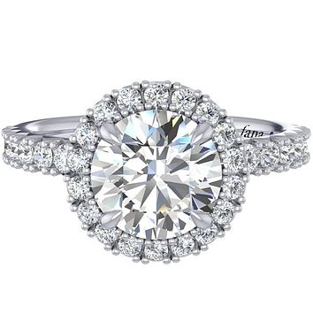Fana Round Cut Halo Prong Set Diamond Engagement Ring