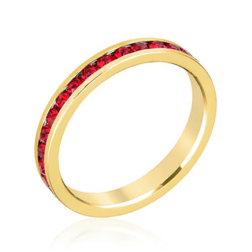 Gail Ruby Red Eternity Stackable Ring | 1 Carat | Crystal | 18k Gold