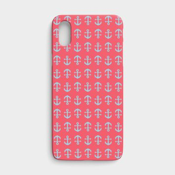 Anchor Toss Cell Phone Case iPhone X - Light Blue on Coral