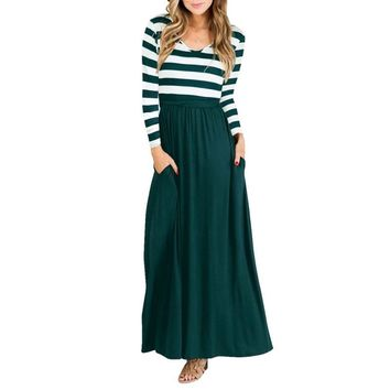 STYLEDOME Striped Patchwork Summer Dress Long Sleeve Women Fit And Flare Dress O Neck Vast Dress Long Dress Casual Ankle-length Vestido