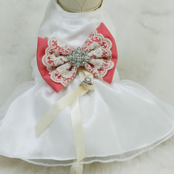 Coral Dog dress, Dog ring bearer, Coral pet Wedding accessory