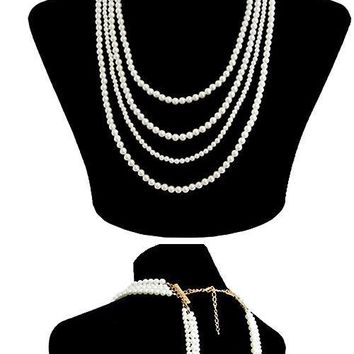 cream faux pearl back drop necklace body chain