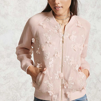 Embroidered Mesh Bomber Jacket