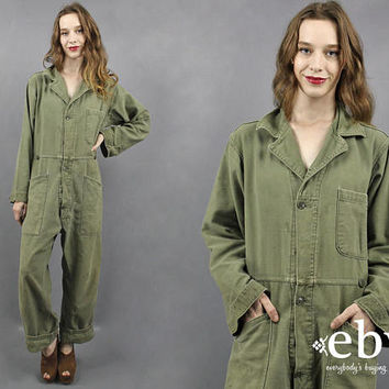 Vintage 90s Grunge Oversized Military Jumpsuit Army Green Jumpsuit Military Jumper Camo Jumpsuit Camouflage Jumpsuit Army Jumpsuit XL