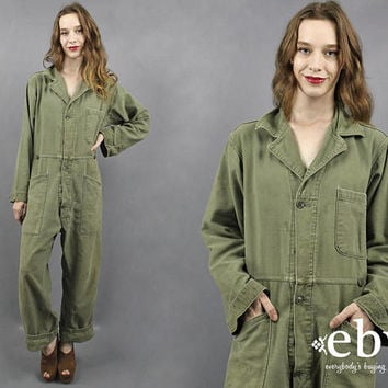 9356e61a796 Vintage 90s Grunge Oversized Military Jumpsuit Army Green Jumpsu