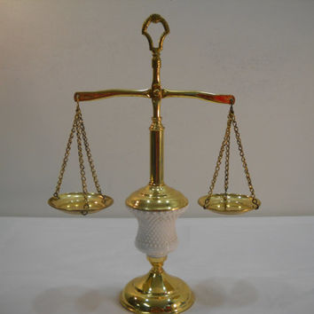 Vintage Scales Of Justice Brass Hob Nail Milk Glass