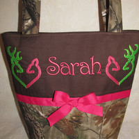 FREE SHIPPING Handmade custom realtree camo heart buck purse you choose name and colors