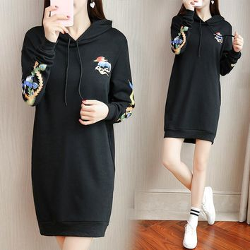 New Autumn Winter Style Loose Casual  Women Print Hooded Draw String Long Sleeve Dress