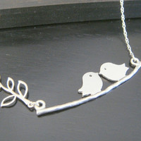 Sterling Silver Personalized Couple Birds on a Branch Necklace Bridesmaids Gift Christmas Celebrity Inspired Jewelry Family Jewelry