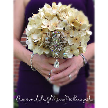 Neutral Champagne Ivory High Quality Hydrangea Brooch accent wedding Bouquet
