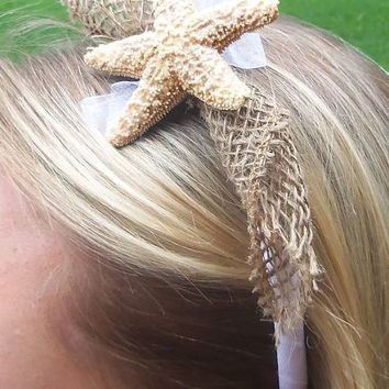 Starfish bridal headband, starfish hair accessories, burlap headband,  flower girl, glitter wedding headband