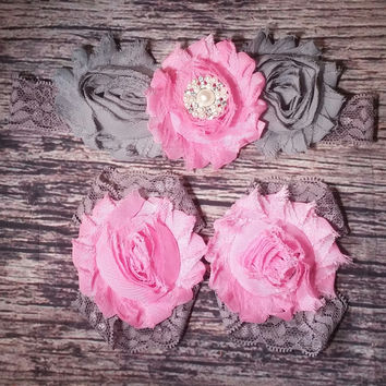Fancy Pink And Gray Shabby And Lace Headband And Barefoot Sandal Set!