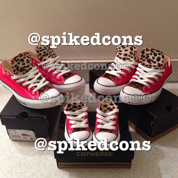 Adult Converse with leopard tongue ONLY (low or high top)
