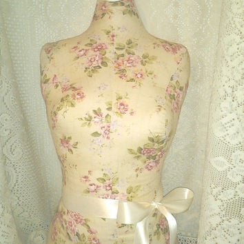 Cream floral Dress form mannequin craft show display in Burlap,Vintage Grey, Shabby chic white or Sand linen store design your choice Sale