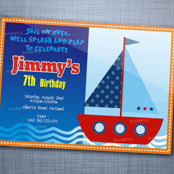 Sailboat Wave Birthday, Birthday Party, Invitation Card Design