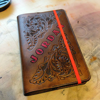 Personalized Handmade Leather Tooled Notebook Cover large Moleskine with Name and Initials – Floral Design