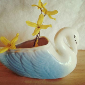 USA Swan Blue Ceramic Bud Vase / USA Pottery miniature Blue Swan Vase