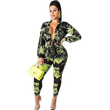 Women Fashion Two Piece Neon Letter Print Long Sleeve Belted Top Pant Set