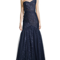 One-Shoulder Gown with Tulle