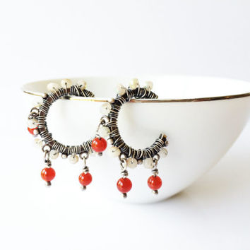 Wire Wrapped Hoop Earrings, Moonstone and Carnelian Small Beaded Hoops, 925 Sterling Silver Boho Gypsy Oxidized, Red and White Earrings