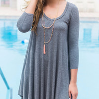 Follow Your Heart Charcoal Gray V-Neck Long Sleeve Dress