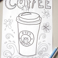 coffee cup adult coloring page coffee travel mug goodmorning download colouring book bakery food printable print digital lasoffittadiste